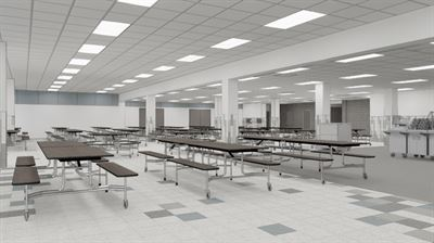 New cafeteria that will be big enough to reduce lunch periods from five to three