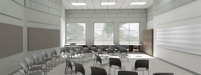 The existing cafeteria will be renovated into two music rooms